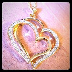 Double Heart CZ Gold Necklace